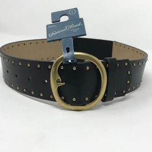 Universal Thread Wide Studded Black Belt Stretch S